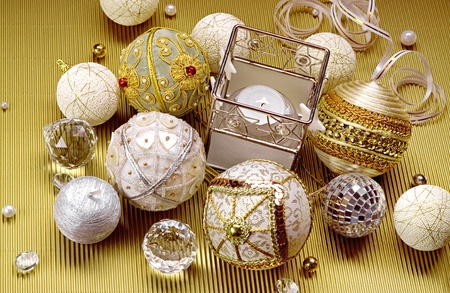 Wonderful Christmas composition: beautiful balls and candle photo