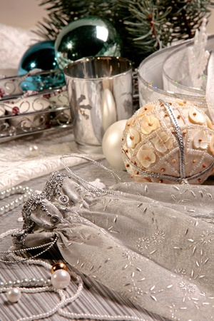 Creative image of gift sack on the background of Christmas details photo