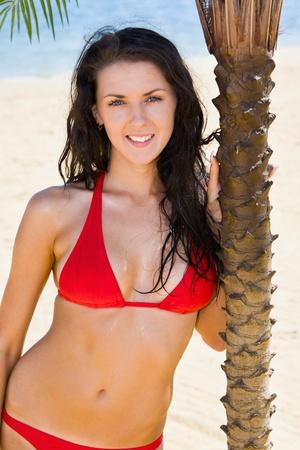 Attractive brunette in a red bikini standing near a palm photo