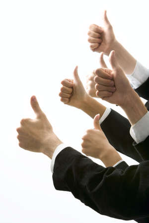 acknowledgment: Isolated on white human hands showing okay sign