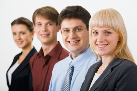 Row of  successful business entrepreneurs on the white background photo