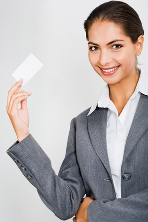 Young beautiful woman presenting her business card Stock Photo - 8393683