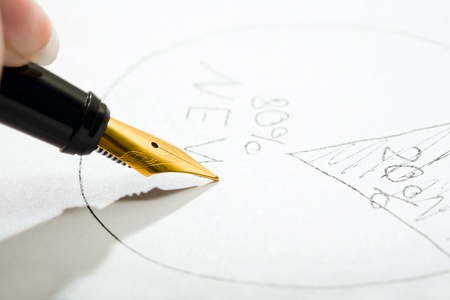 Close-up of fountain pen writing on the paper Stock Photo - 8394100