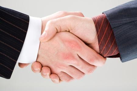 mani che si stringono: Close-up di stringere la mano a fare un accordo su sfondo bianco