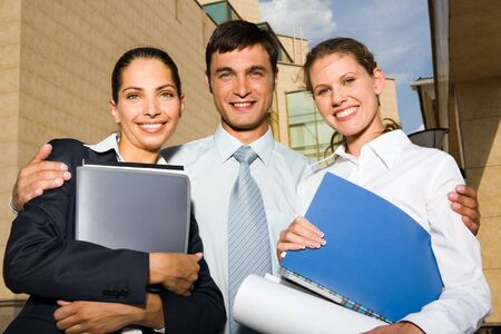 Portrait of young successful business team on the industrial background Stock Photo - 8395055