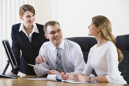 people communicating: People communicating at meeting or after presentation