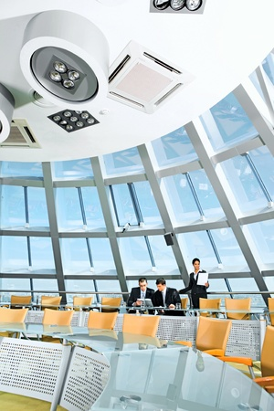 Customary conference room: glassy table, chair, large window Stock Photo - 8395766