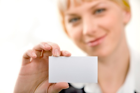 Close-up of  professional�s white business card   Stock Photo - 8399763