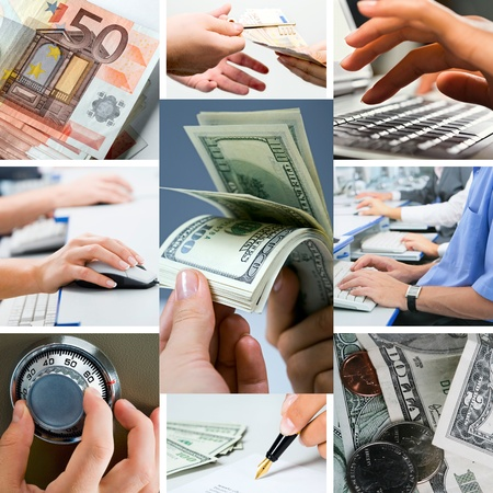 Conceptual image - grid of business photos: white collars� money photo