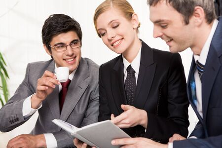 Portrait of busy people discussing new project or working plan Stock Photo - 8402395
