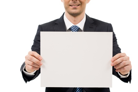 smartness: Image of male hand holding blank paper while advertising something
