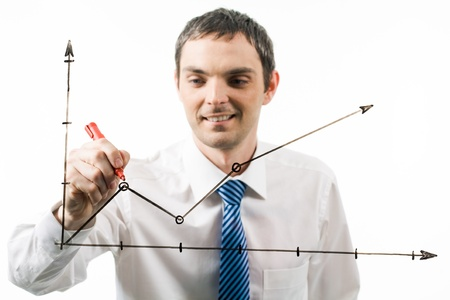 Photo of graph being drawn by happy professional at during presentation photo
