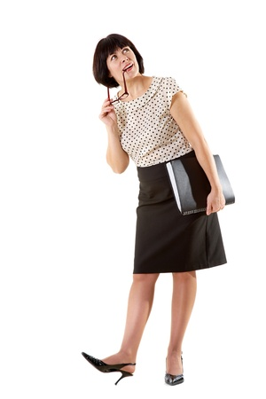 Portrait of middle aged female in elegant clothes over white background Stock Photo