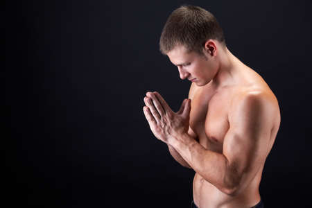 Image of shirtless man keeping his hands by face while thinking Stock Photo - 8405349