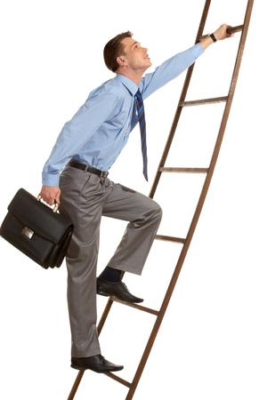 climb job ladder: Portrait of businessman with briefcase climbing on staircase
