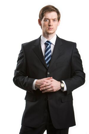 gentleman: Portrait of young handsome businessman looking at camera on white background Stock Photo