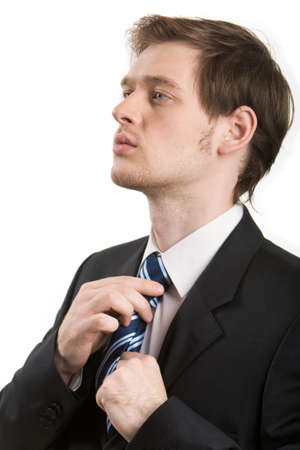 vistiendose: Foto de hombre elegante vestirse aislado sobre fondo blanco