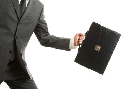 attache: Close-up of businessman with briefcase in hand isolated on white background
