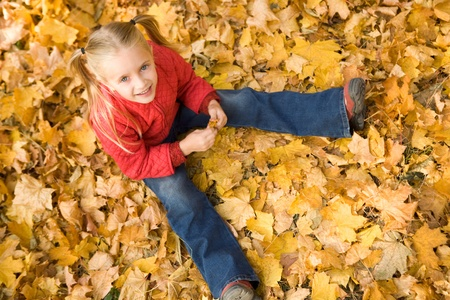 Above view of smiling girl sitting on autumnal ground and looking at camera Stock Photo - 8448060