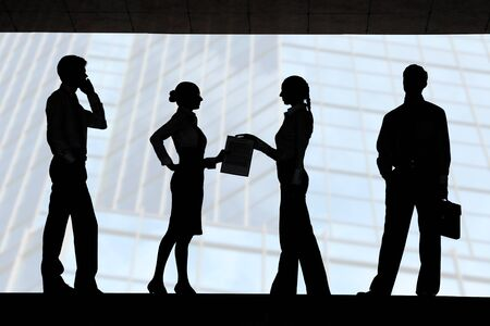 Four outlines of business partners with interacting females in the middle photo