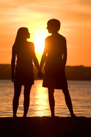 Rear view of romantic couple looking at each other on seashore at sunset photo