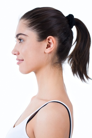 the neck: Profilo di felice ragazza sorridente su sfondo bianco Archivio Fotografico