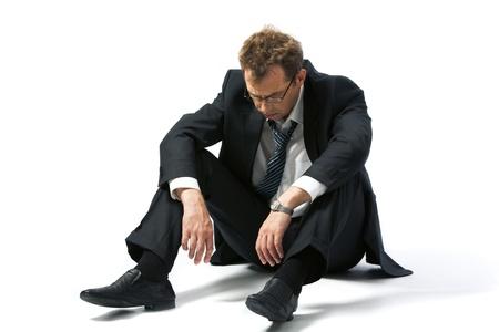 empresario: Retrato de hombre de negocios acentuada dej� a merced de la suerte