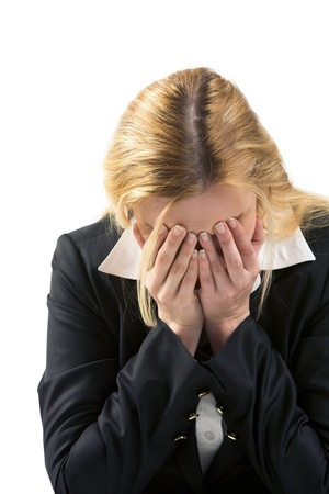 sad women: Photo of depressed female being worried by problems in business