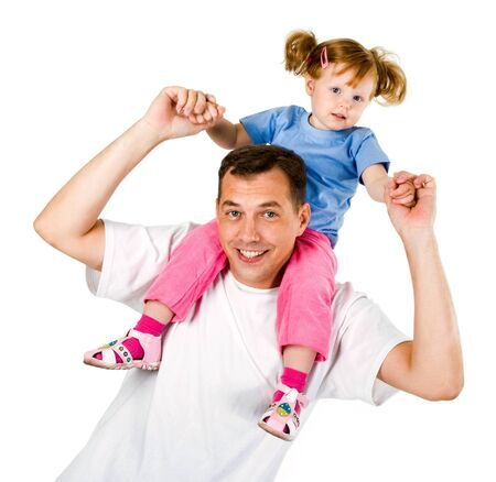 Photo of cute girl sitting on father�s shoulders   photo