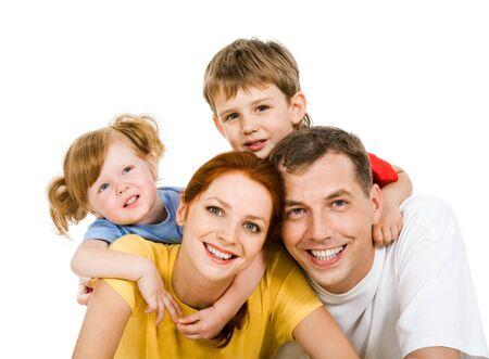 четыре человека: Portrait of four people together on a white background  Фото со стока