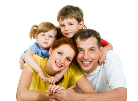 sibling: Portrait of lying family together isolated on a white background   Stock Photo
