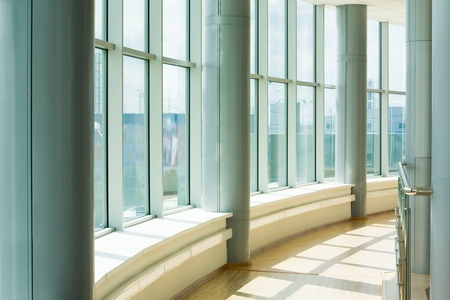 Image of corridor in office building with big windows passing daylight Stock Photo - 8455217