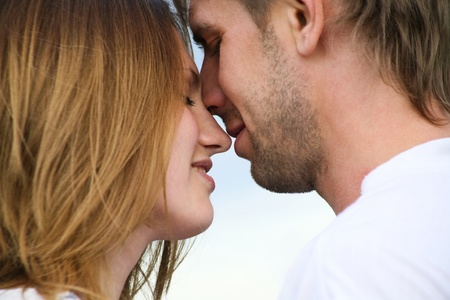 Close-up of happy couple seizing an opportunity be together photo
