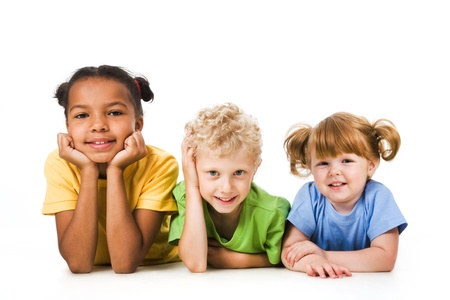 three children: Row of children smiling and resting together