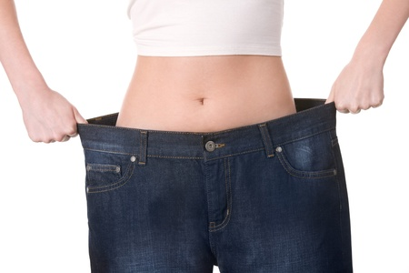 inappropriate: Close-up of female figure with jeans of inappropriate size