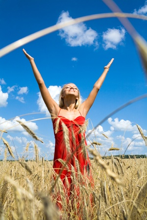 Photo of excited female in red dress standing with her arms raised in wheat field photo