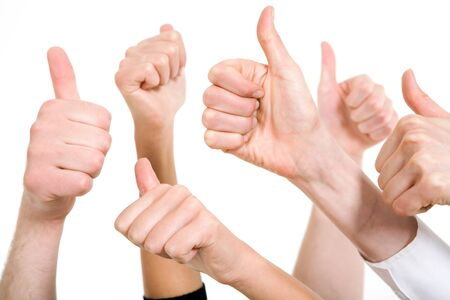 Line of group of human fists keeping thumbs up   photo