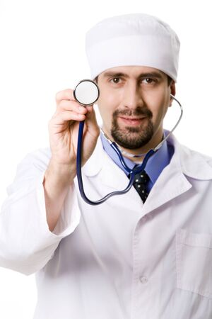 therapeutist: Hand of confident therapeutist holding stethoscope Stock Photo