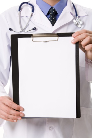 Close-up of physician showing blank paper in hands photo