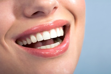 orthodontic: Close-up of happy female healthy teeth shown in smile