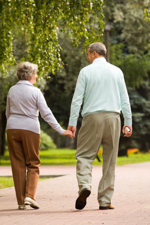 Rear view of senior couple walking down in park and chatting photo