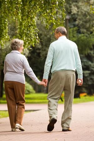 Vista posterior del senior pareja caminando en el parque y chat