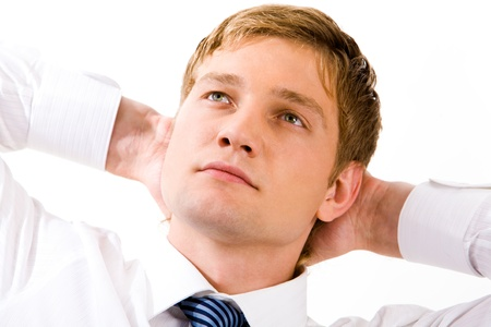 Photo of thoughtful businessman looking upwards with pensive expression Stock Photo - 8506525