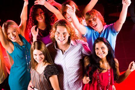 disco girls: Joyful teens having fun in night club while dancing