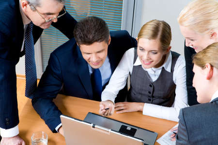 Above view of successful employees interacting with each other at meeting in office Stock Photo - 8507962