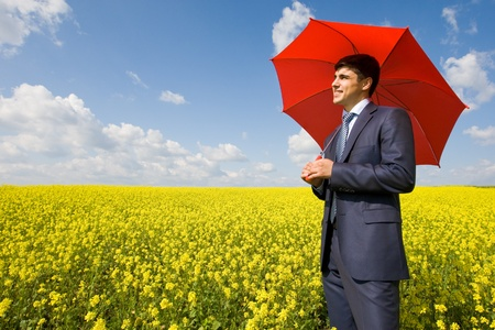 Image of young businessman with red umbrella in flower field photo