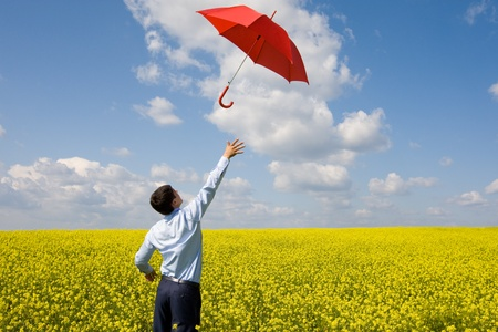 Rear view of young businessman catching red umbrella in flower field photo