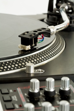 record albums: Close-up of vynil turntable playing