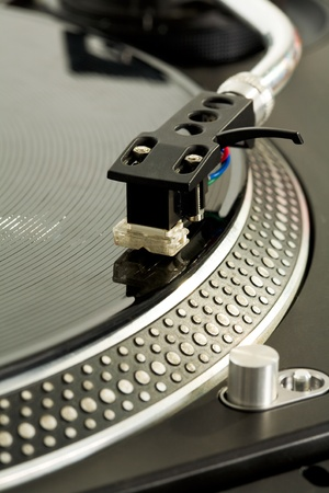 technics: Close-up of vynil disc playing Stock Photo