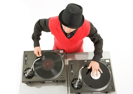 Above view of smart deejay spinning turntables photo